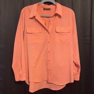 Peach long sleeved blouse size xl apt 9